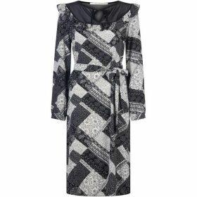 Nougat Laurel Tie Neck Dress