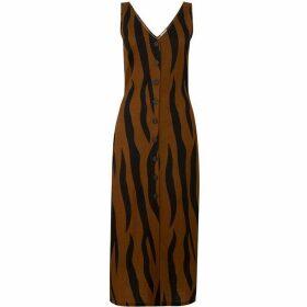 Warehouse Animal Pique Button Midi Dress
