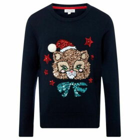 Rose and Wilde Pretty Kitty Sequin Xmas Jumper