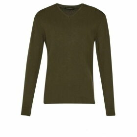 French Connection Milano Front Cotton V Neck Jumper