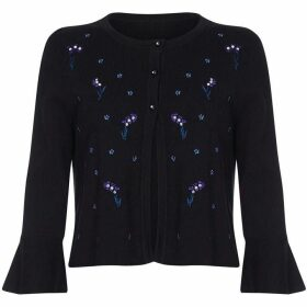 Yumi Floral Embroidered Flute Sleeve Cardigan