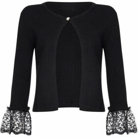 Yumi Lace Sleeve Ribbed Cardigan