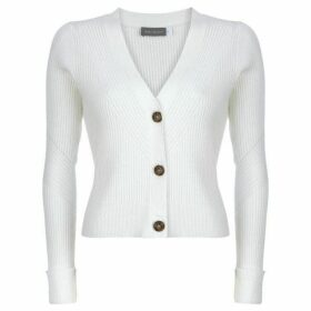Mint Velvet Ivory Ribbed V-Neck Cardigan