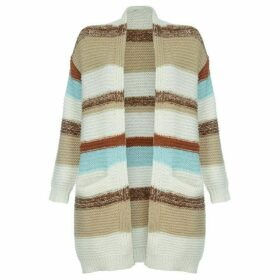 Mela Cream Striped Knitted Cardigan