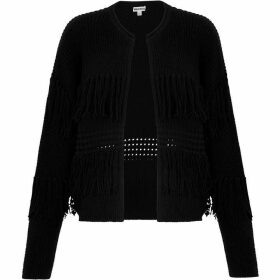 Whistles Fringe Detail Cardigan Knit