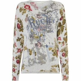 Oui Rock and floral motif jumper