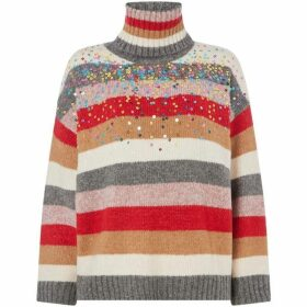 Oui Stripe high neck jumper