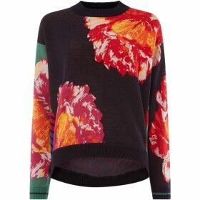 Oui Floral motif jumper
