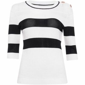 Damsel in a Dress Selena Stripe Pointelle Knitted Jumper