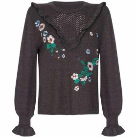 Yumi Frill Trim Floral Embroidered Jumper