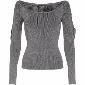 Yumi Lace Up Sleeve Rib Jumper
