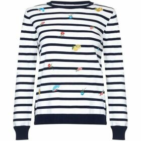 Yumi Floral Embroidered Striped Jumper