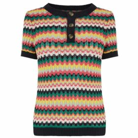 Warehouse Stitch Stripe Button Jumper