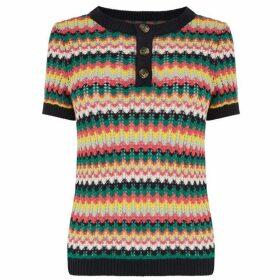 Warehouse Stitch Stripe Button Jumper