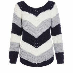 Quiz - Navy Cream And Grey Stripe Jumper