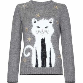 Yumi Embellished Sequin Cat Christmas Jumper