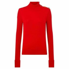 Escada High neck pullover with button detail