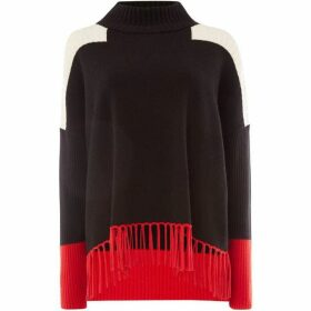 Oui Fringe colour block jumper