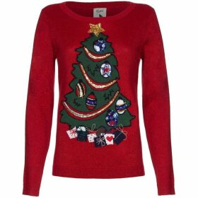 Yumi Sequin Embellished Christmas Tree Jumper