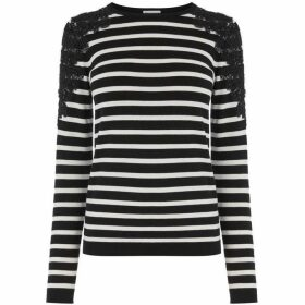 Warehouse Stripe Embellished Lace Jumper