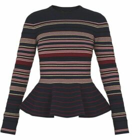 Ted Baker Lond Sleeve Striped Peplum Jumper