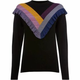 Biba Ruffle Front Colourblock Jumper