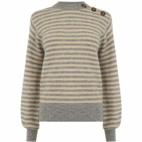 Warehouse Stripe Button Shoulder Jumper