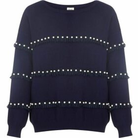 Yumi Ruffle And Pearl Embellished Jumper