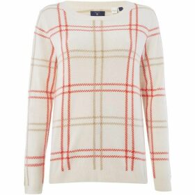 Gant Checked Lambswool Crew Neck Jumper