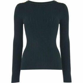Sessun Crew neck jumper with button shoulder details