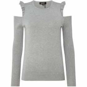 DKNY Crew neck cold shoulder ruffle jumper