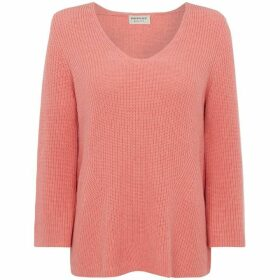 Repeat Cashmere V neck cotton rib detail jumper