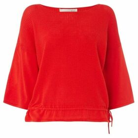 Oui Textured jumper with tie hem detail