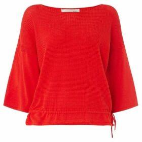 Oui Textured jumper with tie hem detail