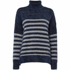 Maison De Nimes FLUFFY STRIPE FUNNEL NECK JUMPER