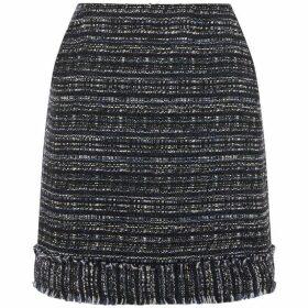 Warehouse Navy Tweed Fringe Skirt