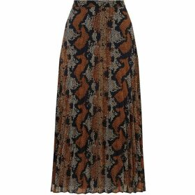 Warehouse Snake Print Pleated Midi Skirt