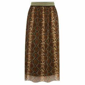 Warehouse Snake Print Mesh Skirt