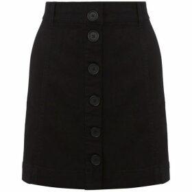Oasis Black Button Through Skirt
