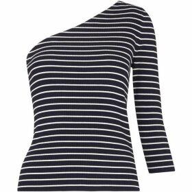 Whistles Stripe One Shoulder Knit