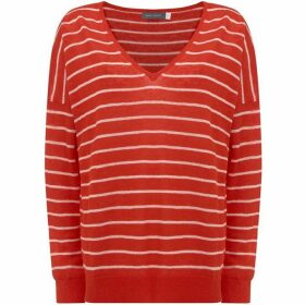 Mint Velvet Tomato Stripe V Neck Boxy Knit