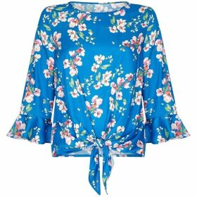 Yumi Spring Flower Print With Tie Knot Detail
