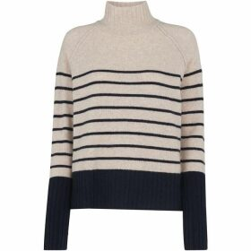 Whistles Stripe Funnel Neck Wool Knit