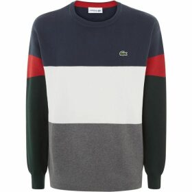 Lacoste Crew Neck Colorblock Flat Ribbed Cotton Sweater