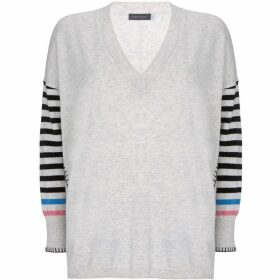 Mint Velvet Chalk V-Neck Striped Knit