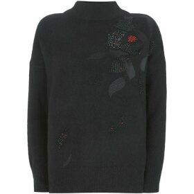 Mint Velvet Black Flower Beaded Knit