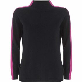 Mint Velvet Navy & Pink Funnel Neck Knit