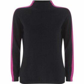 Mint Velvet Navy & Pink Funnel Neck Knit
