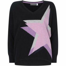 Mint Velvet Navy Star V-Neck Cocoon Knit