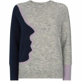 Mint Velvet Grey & Navy Abstract Face Knit
